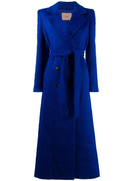 Twin-Set belted double breasted coat in blue