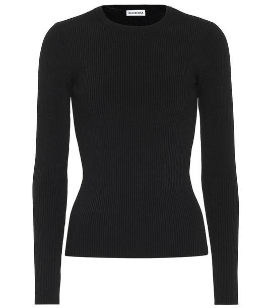 Balenciaga Ribbed-knit top in black