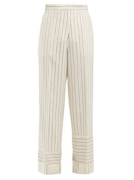 Jw Anderson - Patchwork Striped Wide Leg Trousers - Womens - White Stripe