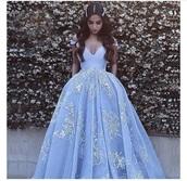 dress,light blue,floral,ball gown dress,prom dress