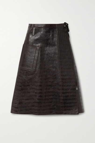 PETER DO - Croc-effect Leather Wrap Skirt - Brown