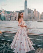 dress,floral dress,maxi dress,off the shoulder dress,handbag