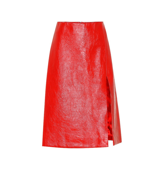 Balenciaga Leather skirt in red