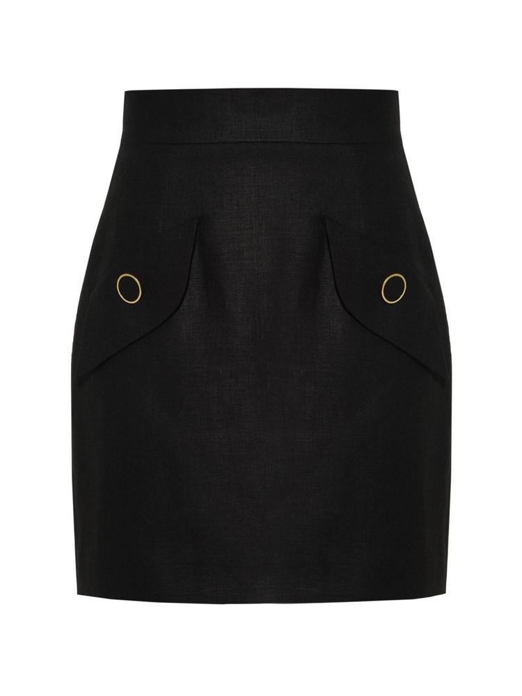 GEORGE KEBURIA Linen Mini Skirt in black