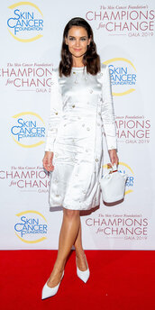 dress,midi dress,katie holmes,pumps,celebrity,white dress,white