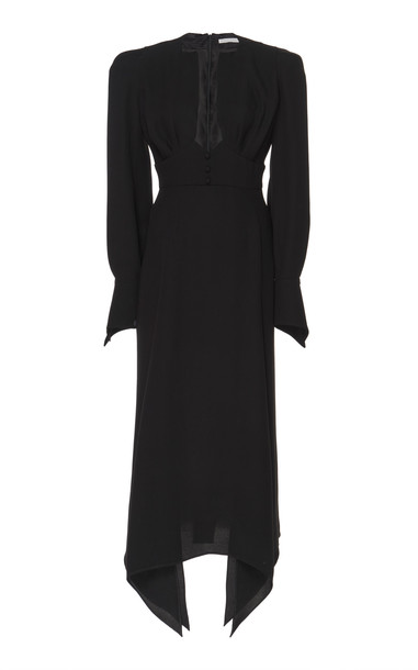 Olivier Theyskens Telia Padded Shoulder Silk Dress Size: 42 in black