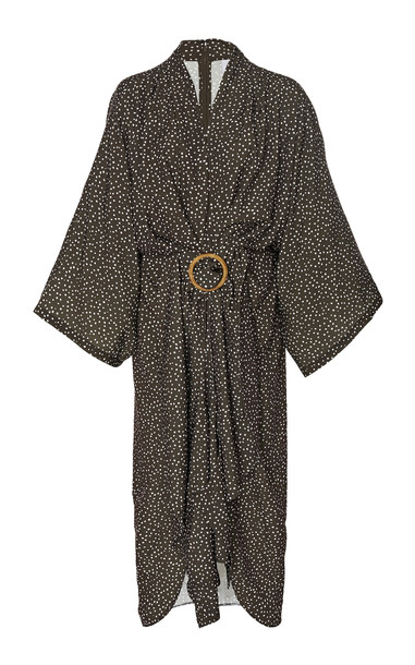 Acler Templin Belted Caftan-Style Midi Dress Size: 8 in brown