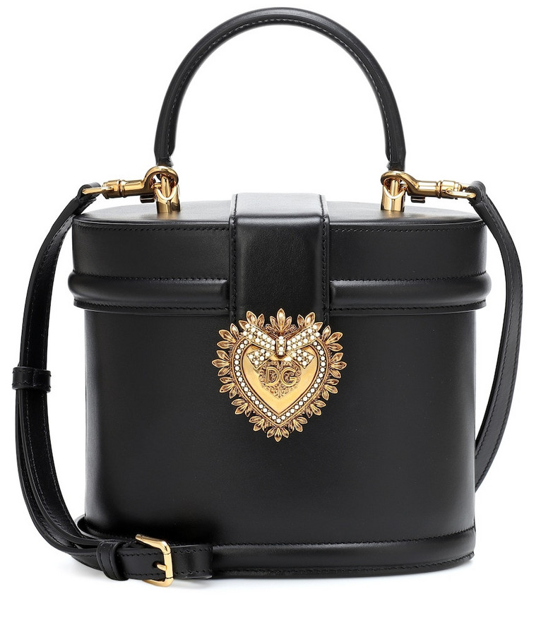 Dolce & Gabbana Devotion leather bucket bag in black