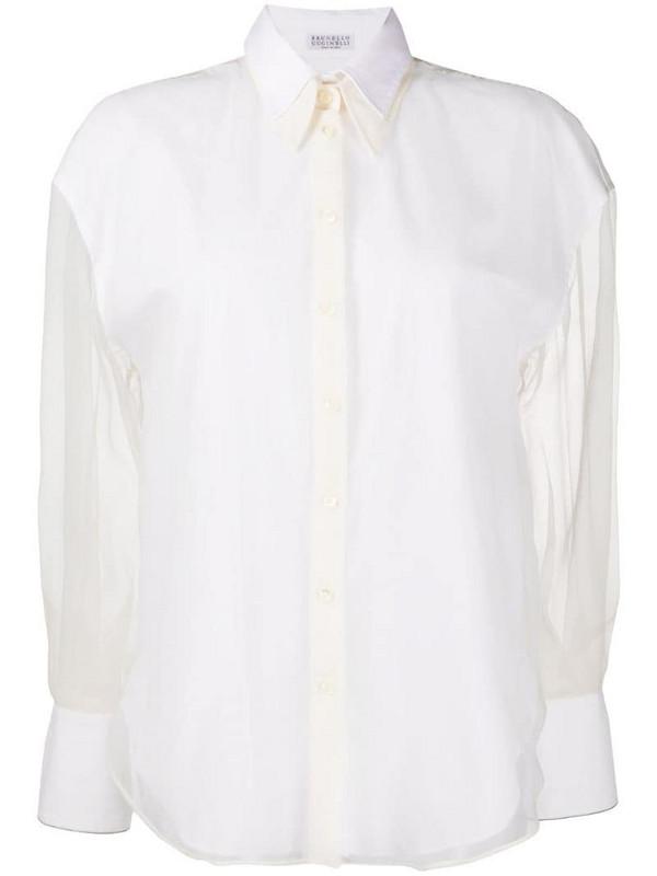 Brunello Cucinelli sheer-sleeve shirt in white