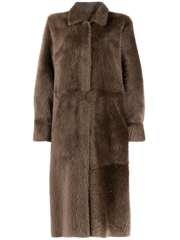 Liska reversible midi coat in brown