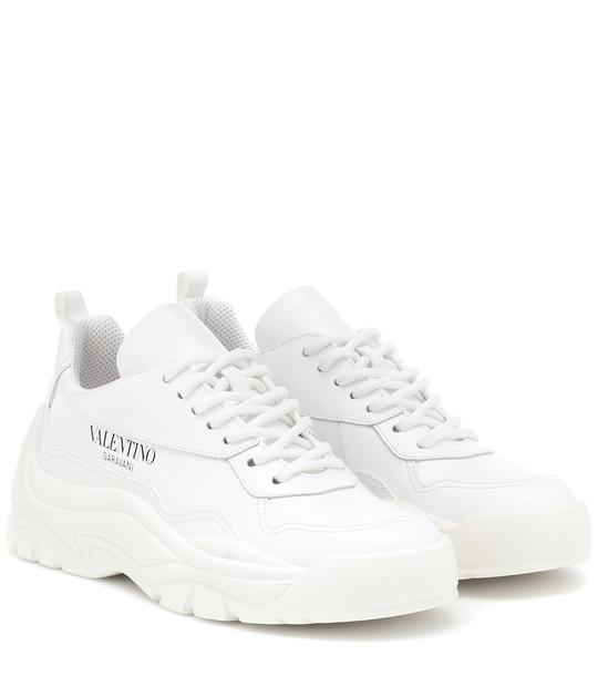 Valentino Garavani leather sneakers in white