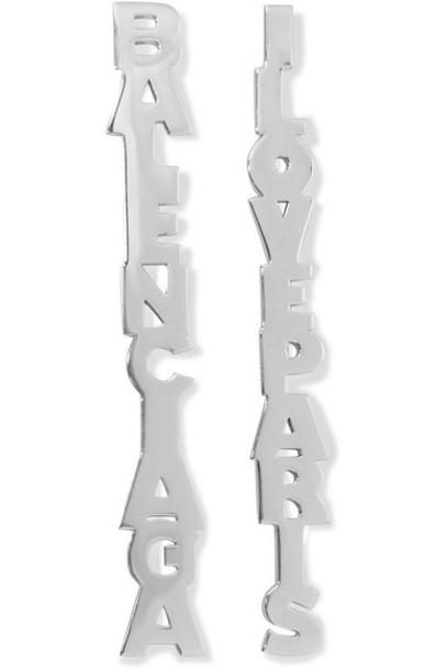 Balenciaga - Typo Silver-tone Earrings