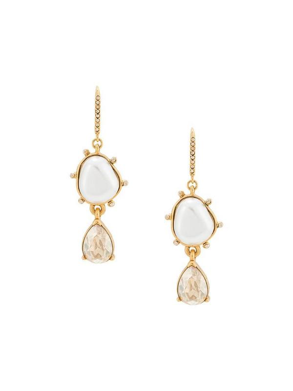 Oscar de la Renta pearl and crystal drop earrings in gold