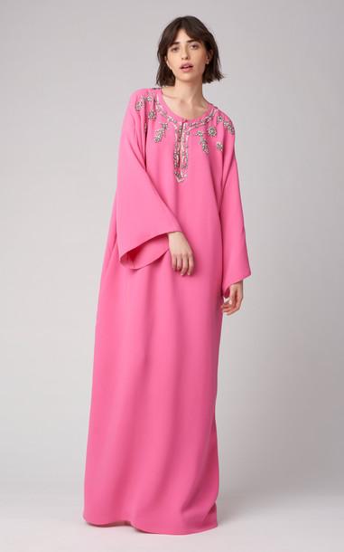 Carolina Herrera Embellished Drop Shoulder Silk Caftan Dress in pink