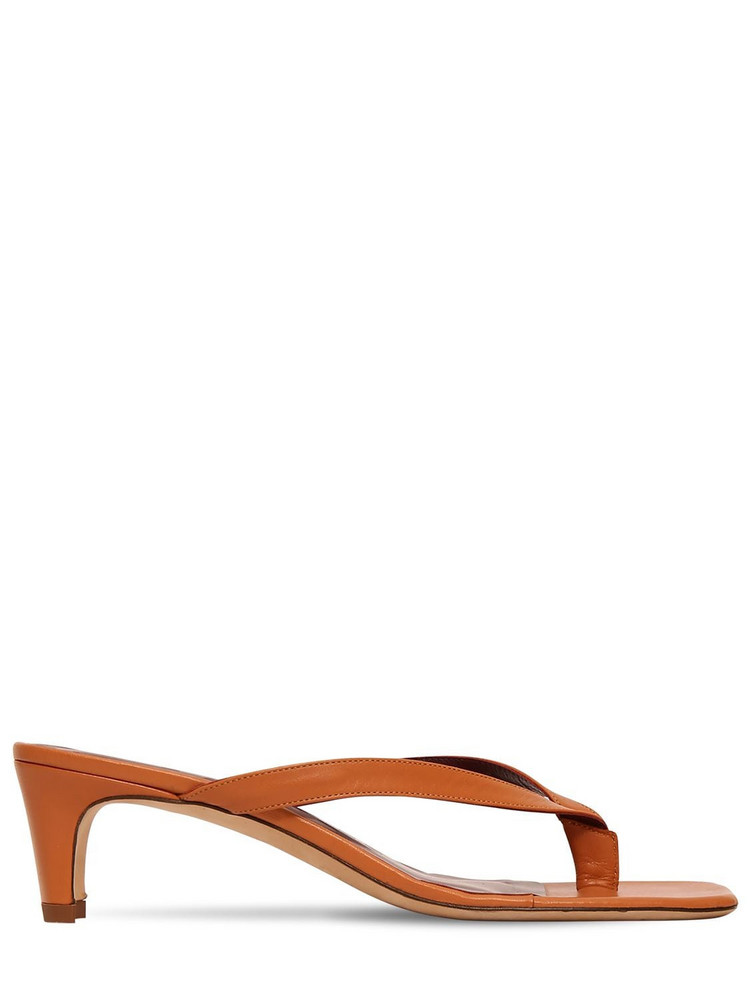 STAUD 55mm Audrey Leather Thong Sandals in tan