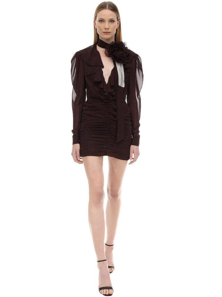 MARIANNA SENCHINA Ruffled Polka Dot Chiffon Mini Dress in black / fuchsia