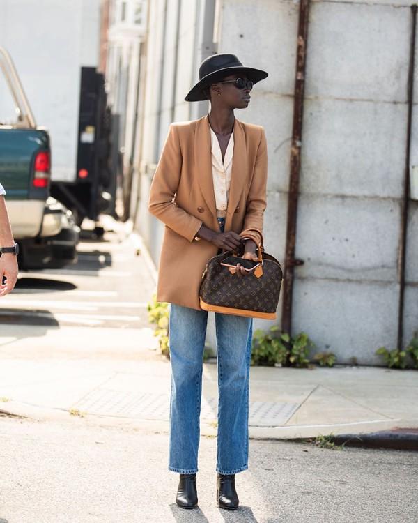 jacket blazer straight jeans louis vuitton bag black boots white shirt hat