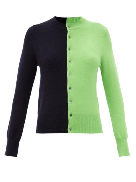 Extreme Cashmere - Little Game Bi-colour Stretch-cashmere Cardigan - Womens - Green Multi