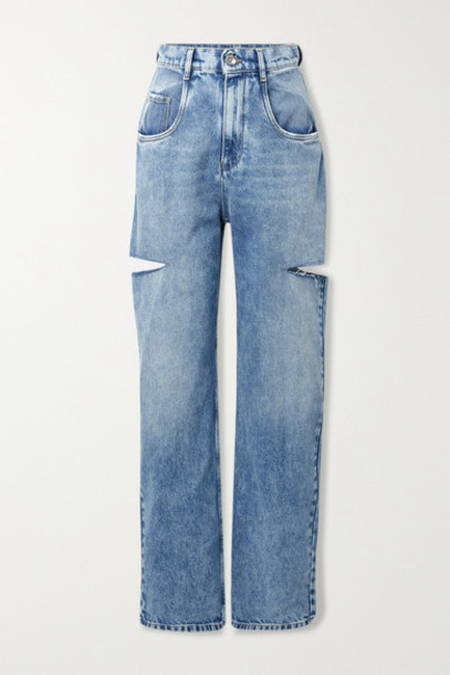 Maison Margiela - Cutout Distressed High-rise Wide-leg Jeans - Blue