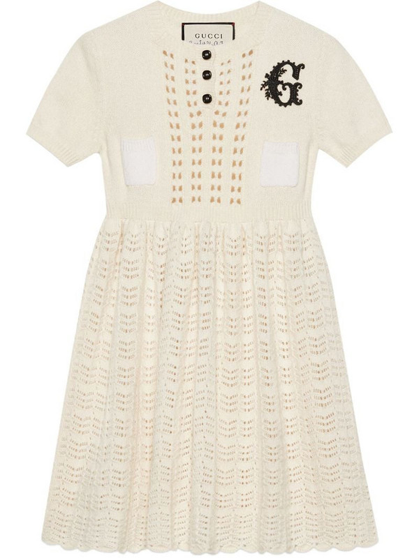 Gucci G motif knitted dress in white