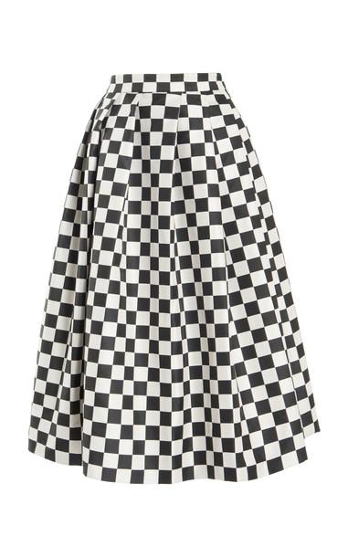 Erdem Lavin Checkered A-Line Skirt in black