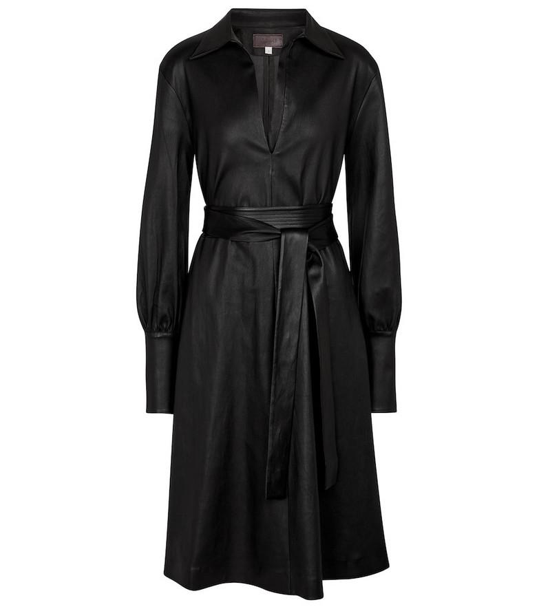 Stouls Ninotchka leather shirt dress in black