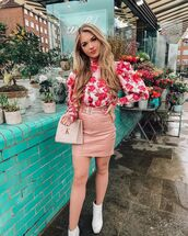 top,turtleneck,floral top,mini skirt,white boots,ankle boots,handbag