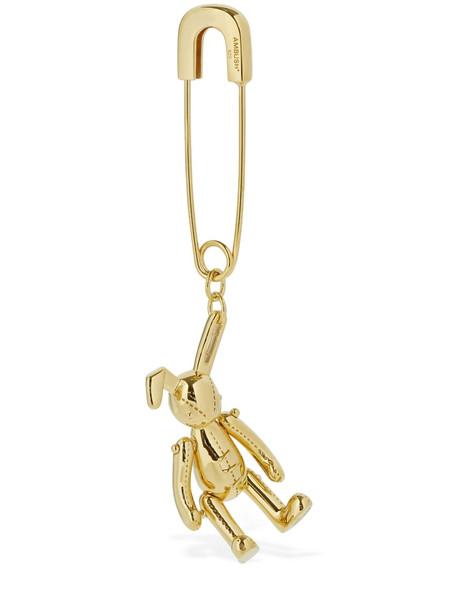 AMBUSH Bunny Charm Safety Pin Mono Earring in gold
