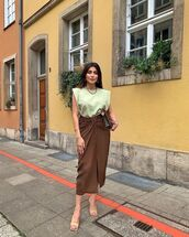 skirt,wrap skirt,sandal heels,midi skirt,tank top,bag