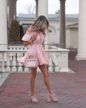 dress,mini dress,pink dress,pvc,transparent  bag,pink sandals