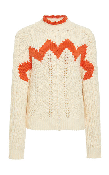 Isabel Marant Bell Intarsia Cotton And Wool-Blend Sweater Size: 42 in white