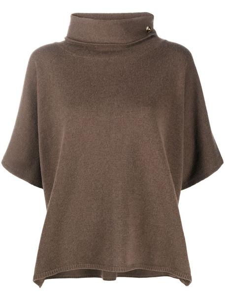 Peserico funnel neck jumper in brown