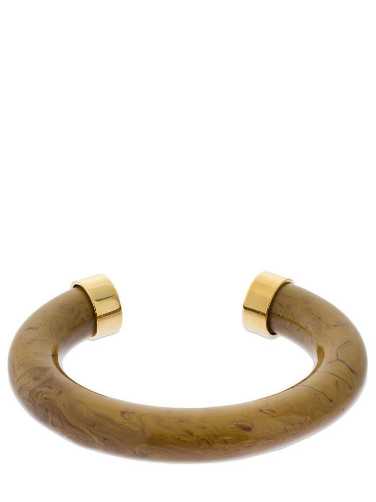 JIL SANDER Bachelite Effect Cuff Bracelet in beige