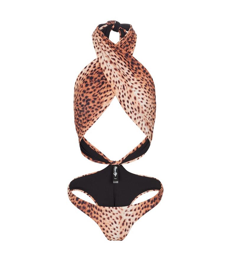 Reina Olga Showpony cheetah-print swimsuit in beige