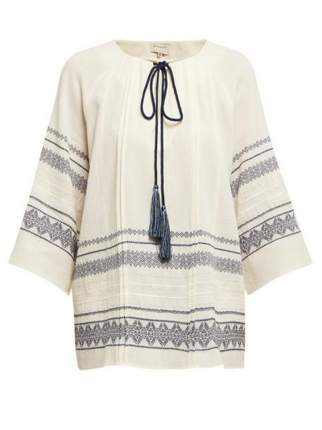 Zeus + Dione Zeus + Dione - Aegina Embroidered Cotton Blend Blouse - Womens - Ivory Multi