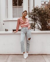 top,shirt,satin,high waisted jeans,ripped jeans,straight jeans,white sneakers