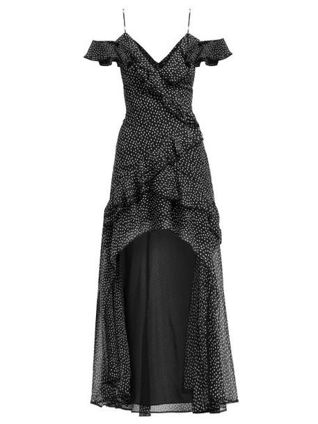 Jonathan Simkhai - Polka Dot Print Off The Shoulder Silk Maxi Dress - Womens - Black White