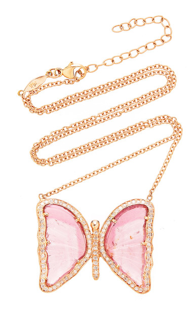 Jacquie Aiche Pave Pink Tourmaline Butterfly Necklace in gold