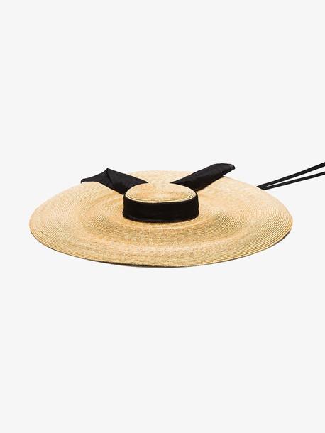 ELIURPI black and beige Pamela straw hat