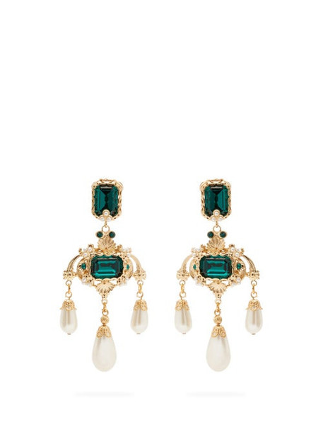 Dolce & Gabbana - Crystal And Faux Pearl Drop Earrings - Womens - Green