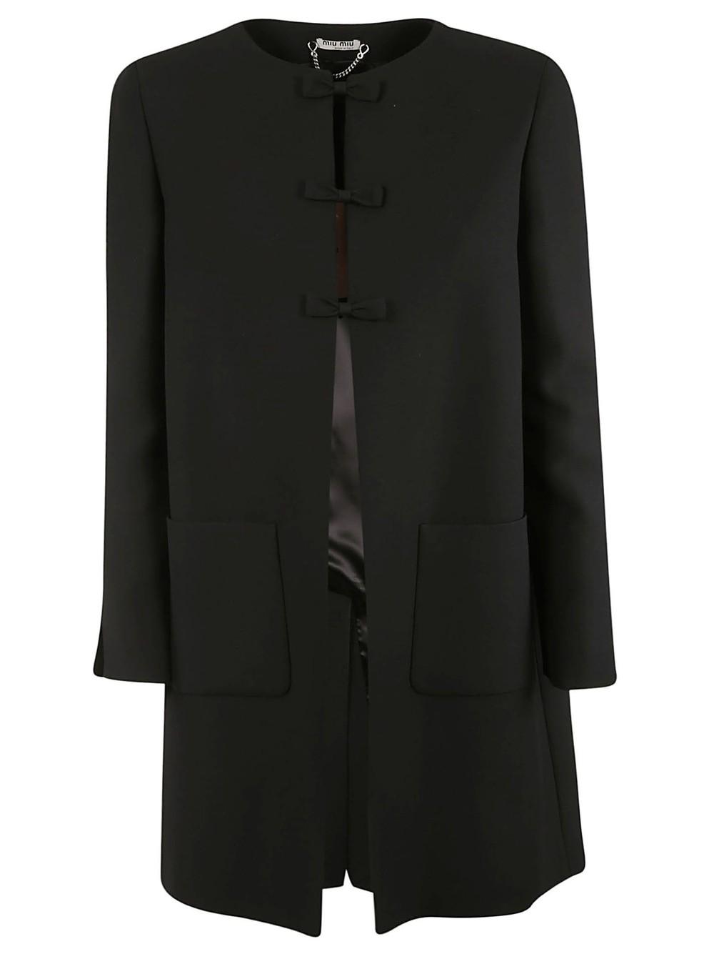 Miu Miu Bow Detailed Coat in black