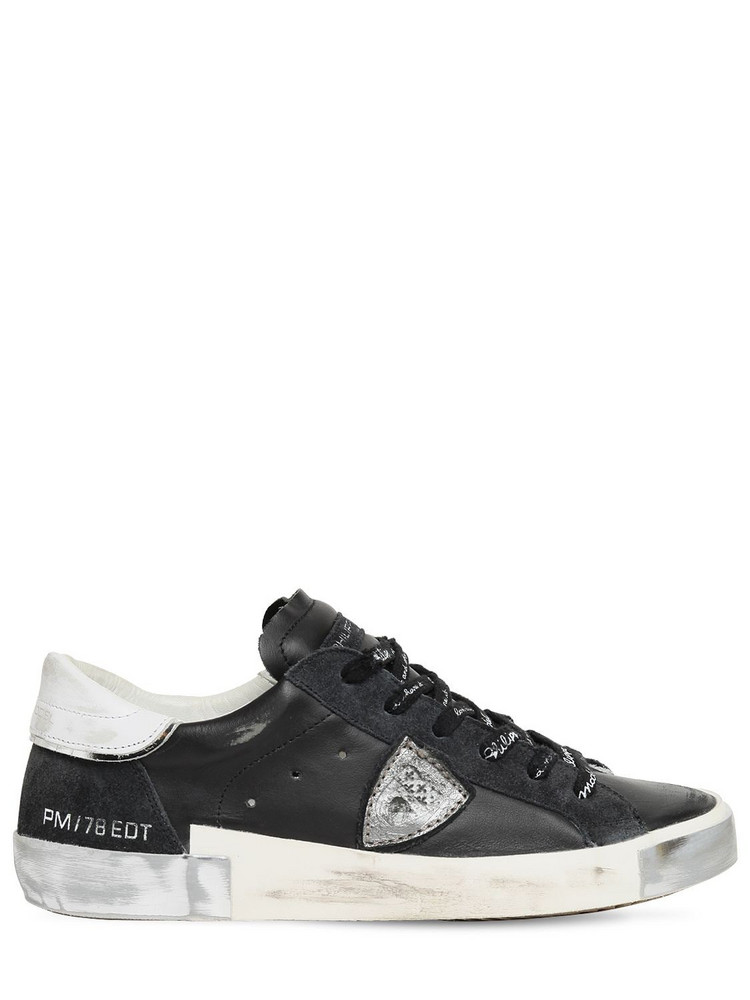 PHILIPPE MODEL Paris Limited Edition Leather Sneakers in black / white