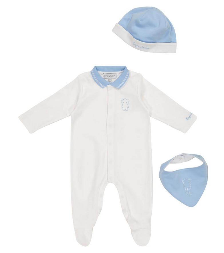Emporio Armani Kids Baby cotton romper, hat and bib set in white