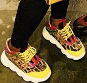 shoes,yellow,leopard print,red