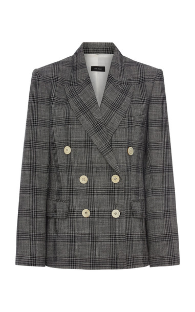 Isabel Marant Dallin Prince-Of-Wales Checked Cotton-Blend Blazer in grey