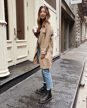 coat,trench coat,beige coat,black boots,lace up boots,DrMartens,cropped jeans,straight jeans