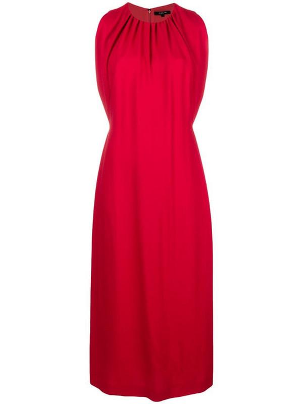 Derek Lam Sleeveless Shirred Mock Neck Dress in red