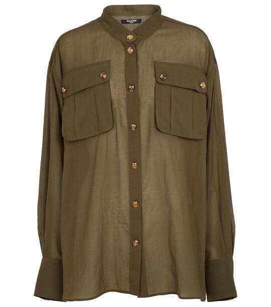 Balmain Longline cotton shirt in green