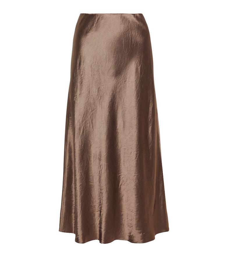 Max Mara Leisure Alessio satin midi skirt in grey