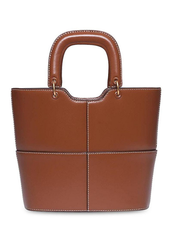 STAUD Andy Smooth Leather Top Handle Bag in tan